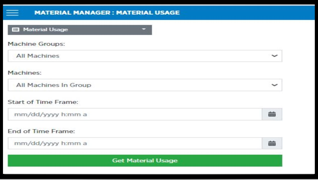 material usage on monitor
