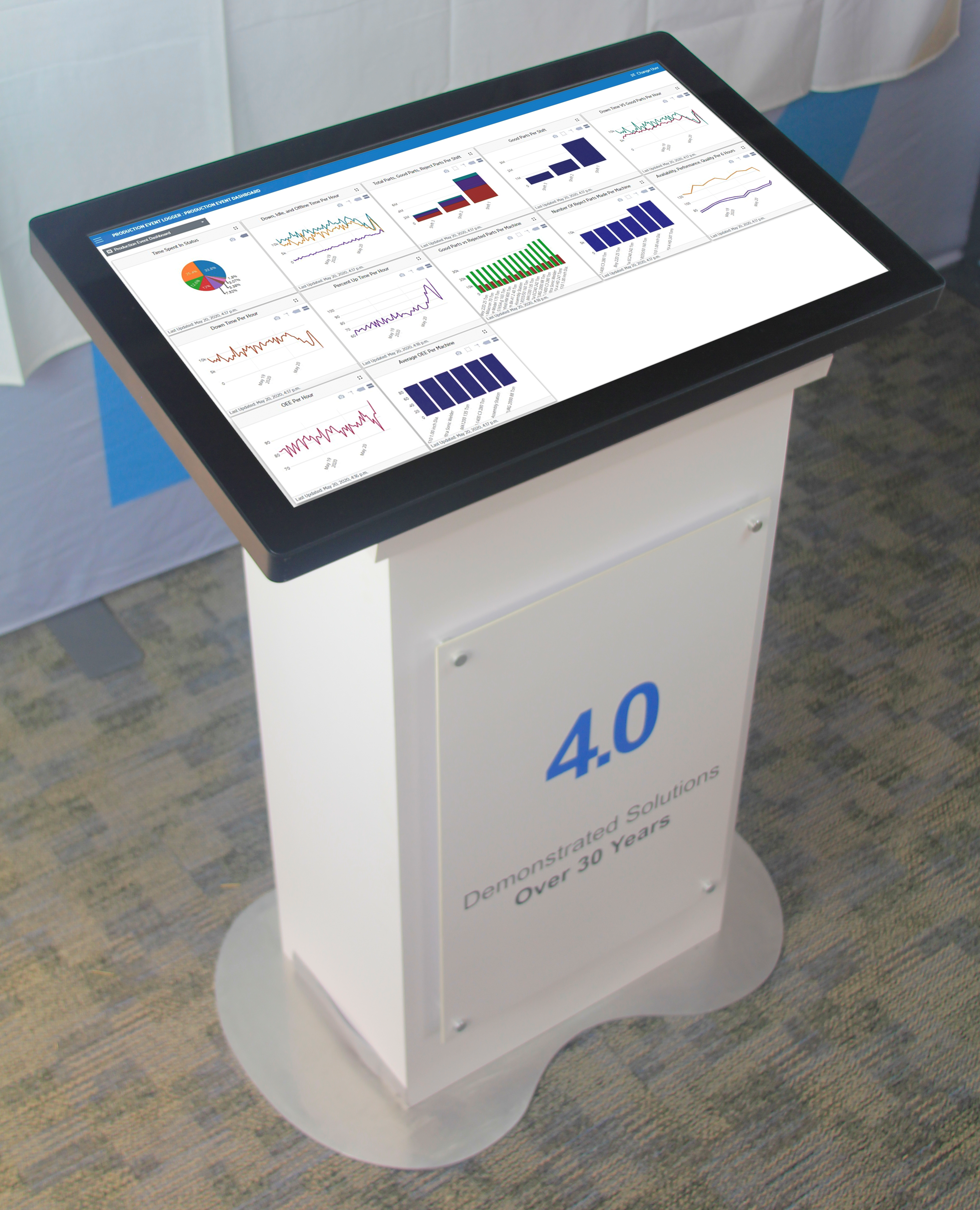 large touch screen on stand